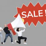 People creaming sale into a megaphone